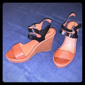 Black and brown leather wedges worn once